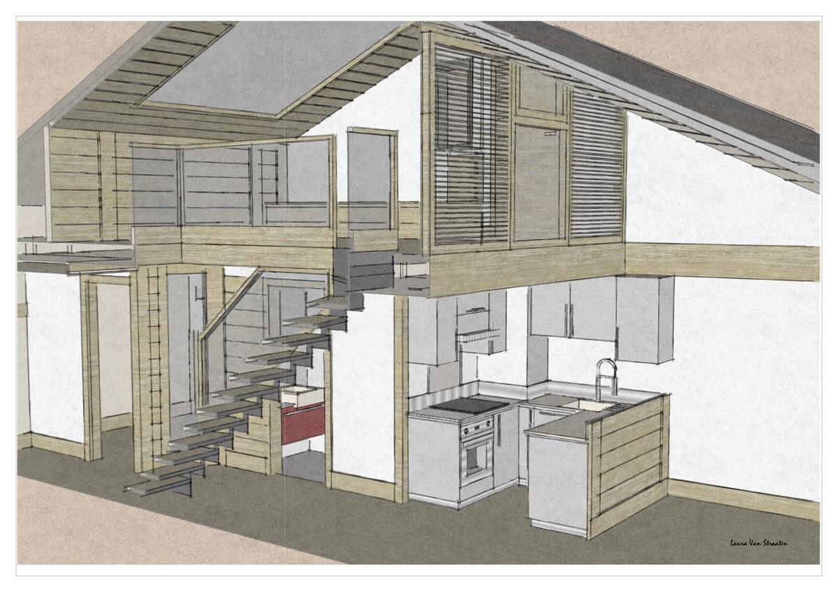 r novation d un appartement mezzanine dans r sidence pierre vacances val d is re sc nes. Black Bedroom Furniture Sets. Home Design Ideas
